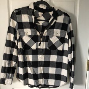 Women's JCrew Black and White Quarter Zip Flannel